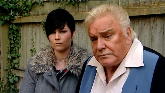 freddie starr interview on abuse claims england warwickshire studley ext freddie starr and fiancee sophie lea in garden of their home freddie starr... - fiancé stock videos & royalty-free footage