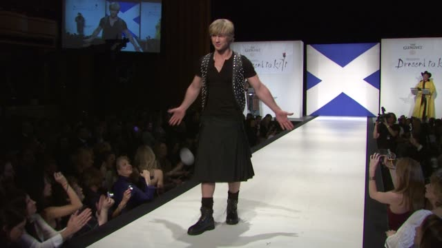 freddie stroma at the 9th annual dressed to kilt charity fashion show at new york ny. - kilt stock videos & royalty-free footage