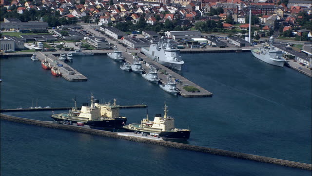 frederikshavn  - aerial view - north denmark,  frederikshavn kommune,  denmark - navy stock videos & royalty-free footage