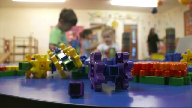 Free childcare policy posing 'huge challenge' for cashstrapped nurseries UK Bolton Children playing in preschool nursery Jane Morrisey interview...