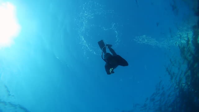 HD SLOW MOTION: Free Diver Waving At Camera