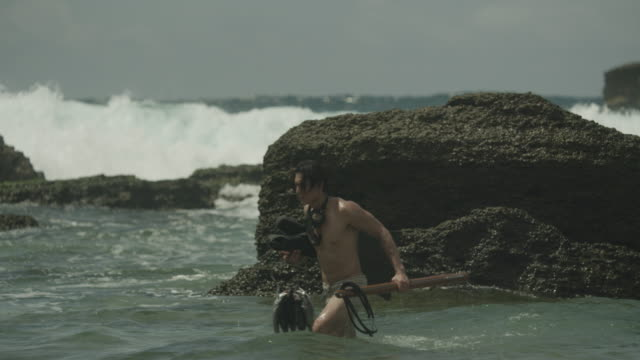 stockvideo's en b-roll-footage met a free diver with spearfishing gear on the shore/beach. - zwemvlies