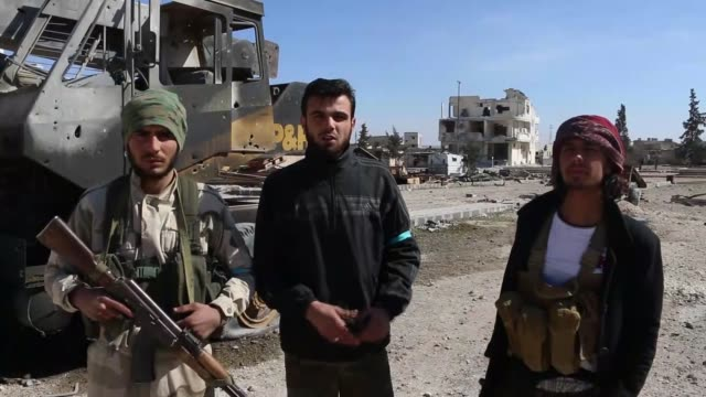 free syrian army backed by turkey advance on northern syria's albab town as part of the ongoing operation euphrates shield on february 20 2017 khalid... - militant groups stock videos & royalty-free footage