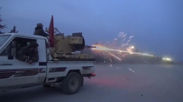 Free Syrian Army fighters hit Daesh targets in northern Syria's AlBab town as part of the ongoing Operation Euphrates Shield on February 11 2017...