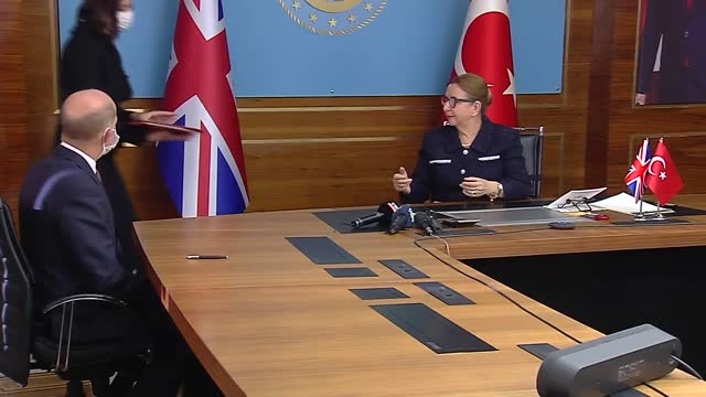 free trade agreement between turkey and uk has been signed on tuesday, dec. 29, with the attendance of trade minister ruhsar pekcan and her british... - turkey middle east stock videos & royalty-free footage