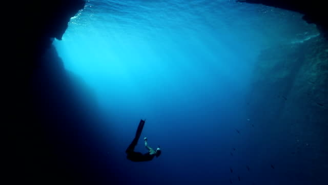 freediver diving in the blue water - diving into water stock videos & royalty-free footage