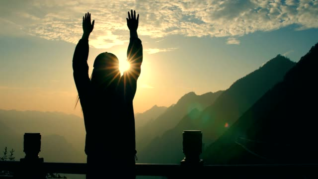 freedom in mountain,woman raised arm - human limb stock videos & royalty-free footage