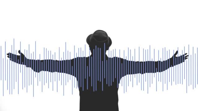vídeos y material grabado en eventos de stock de hombre libertad con onda audio sobre fondo blanco. - audio disponible