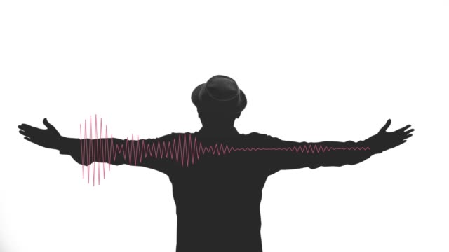 freedom man with audio wave on white background. - symmetry stock videos & royalty-free footage