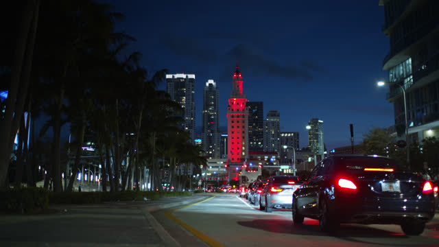 freedom tower, miami at twilight - miami dade county stock videos & royalty-free footage