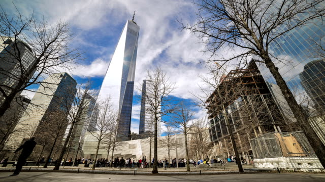 freedom tower time-lapse with people visiting. - september 11 2001 attacks stock videos & royalty-free footage