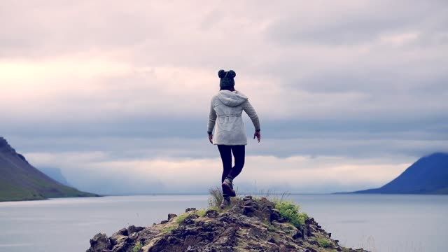 Freedom woman enjoy in Iceland, Slow motion