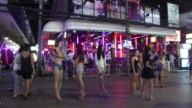 freelance ladyboy prostitutes on bangla road in patong on phuket island in southern thailand bangla road is the center of the nightlife in patong... - nutten stock-videos und b-roll-filmmaterial