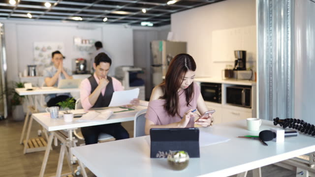 Freelance multi-ethnic group of people working together in rented office