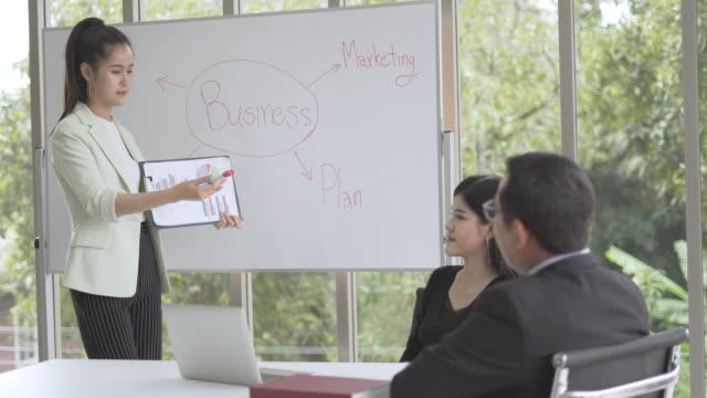 stockvideo's en b-roll-footage met freelance of opstarten vrouw leider bespreken op de grafiek en grafiek succes product.employee brainstorm op werkplek - graph