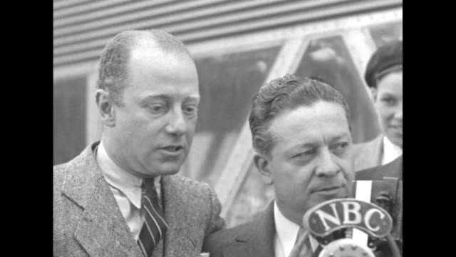 sot freeman gosden and charles cordell speaking in character as amos 'n' andy of radio show fame speak into nbc microphone about dedicating the... - chicago world's fair stock videos & royalty-free footage