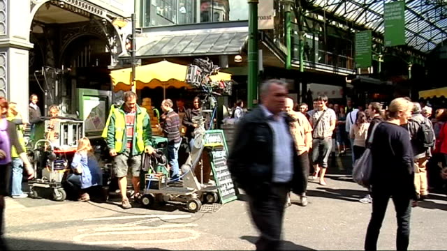 Freeman interview SOT On the likelihood of there being more episodes of The Office Various shots of film set and crowds of people at Borough Market...