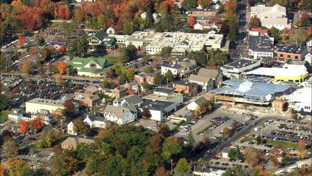 freeport and ll bean  - aerial view - maine,  cumberland county,  united states - local landmark stock videos and b-roll footage