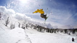 Freestyle skier performing a stunt jump