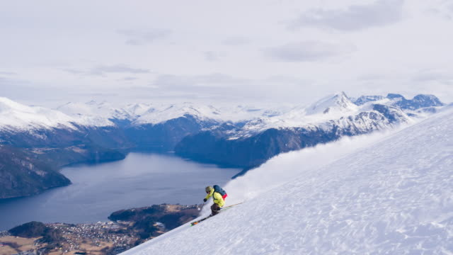 Freestyle skier skiing powder snow with a fjord in background