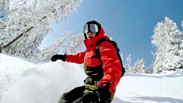 slo mo freestyle snowboarder skiing through the forest - skiing and snowboarding stock videos and b-roll footage