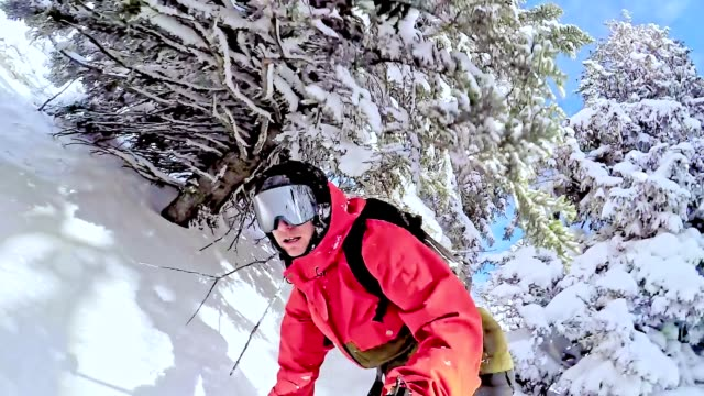 tw freestyle snowboarder skiing through wilderness area - snowboarding stock videos & royalty-free footage