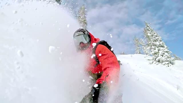 SLO MO Freestyle snowboarder spraying snow while skiing
