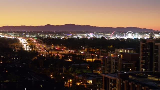 freeway and fairground in downtown phoenix - drone shot - phoenix arizona stock videos & royalty-free footage