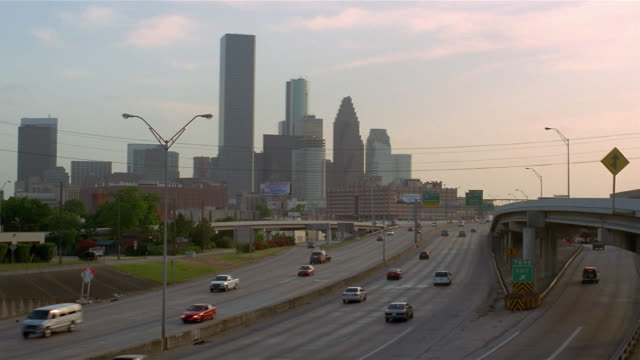 HA  WA freeway  cityscape in background  Houston  Texas  USA