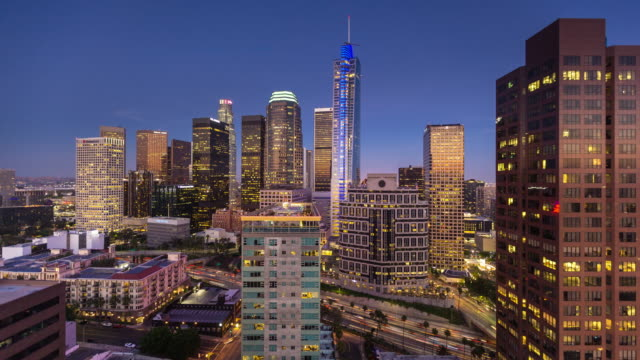 Freeway in DTLA From Above - Day to Night Time Lapse