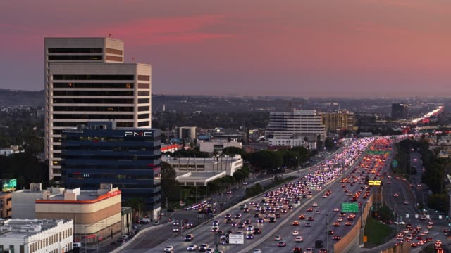 405 freeway in westwood, los angeles - aerial - westwood neighborhood los angeles stock videos & royalty-free footage