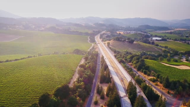 101 freeway in wine country - vineyard stock videos & royalty-free footage