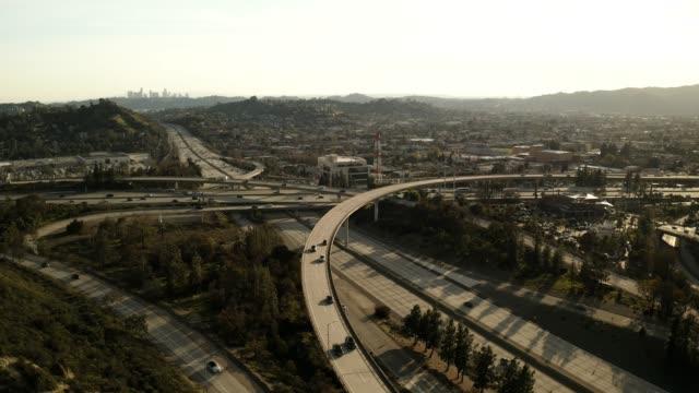 sr-134 & sr-2 freeway interchange, glendale california - drone video - glendale california stock videos & royalty-free footage