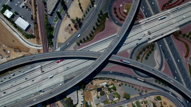 91 Freeway interchange - pan up to 215 South in Riverside, CA