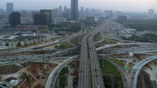 aerial freeway intersection  houston  texas  usa - intricacy stock videos & royalty-free footage