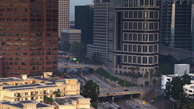 Freeway on the Edge of Downtown Los Angeles - Aerial View