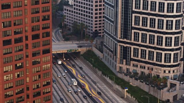 Freeway on the Edge of Downtown Los Angeles - Drone Shot with Upward Tilt