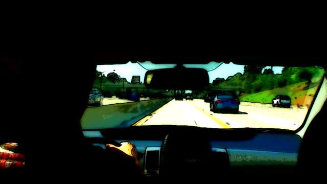 Freeway Traffic Drive with Dark Cartoon Special Effect