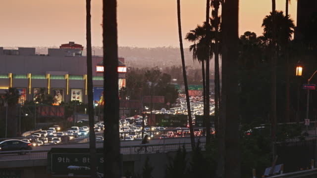 freeway traffic near the staples center - staples centre stock videos & royalty-free footage