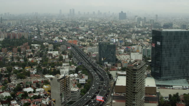 Freeway Winds Past High Rises In Mexico City