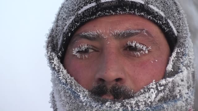 freezing cold weather affects adversely daily life in kars eastern turkey on february 11 2020 in the eastern anatolia region which is affected by... - kars stock videos & royalty-free footage