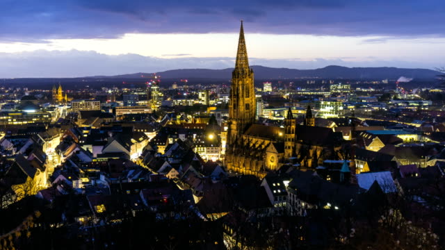 freiburg in germany at sunset, time lapse - twilight stock videos & royalty-free footage