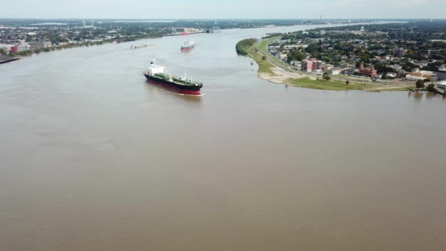 freight boat going down the mississippi - louisiana stock videos & royalty-free footage