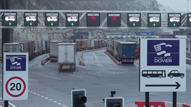 freight queues at dover port on february 02, 2021 in dover, england.road freight between great britain and the eu as fallen a third due to increased... - global business stock videos & royalty-free footage