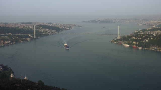 Freight Ship On Bosphorus Strait In Istanbul