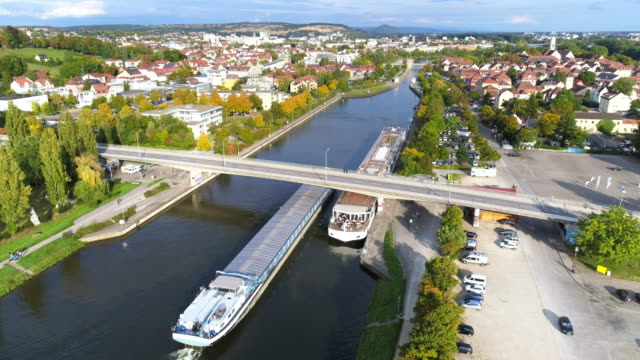 freight ship passing danube canal at regensburg - river danube stock videos & royalty-free footage