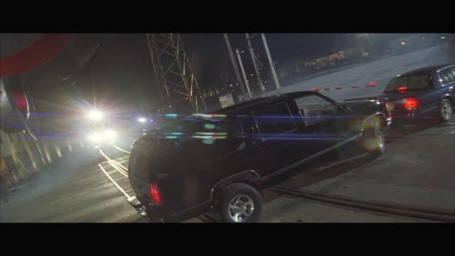 ms freight train crashes suv at railroad crossing - 列車の車両点の映像素材/bロール