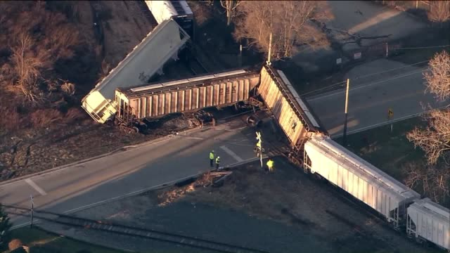 wgn a freight train derailed near 136th and chatham in blue island il on march 7 2017 - train crash stock videos and b-roll footage