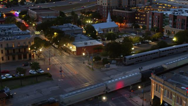 freight train in downtown san antonio - drone shot - rail transportation stock videos & royalty-free footage