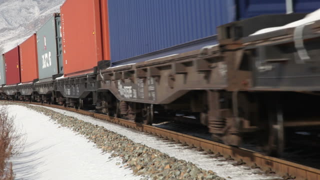 MS Freight train in snowy landscape / Inner Mongolia, China